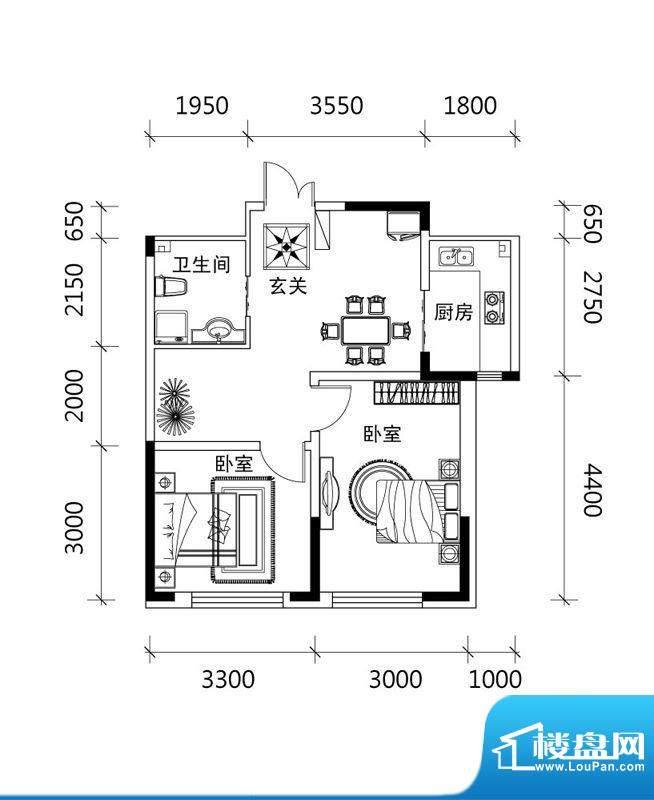 郡望安石B1户型图 2面积:62.41平米