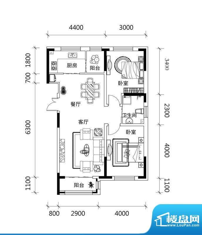 郡望安石A户型图 2室面积:82.69平米