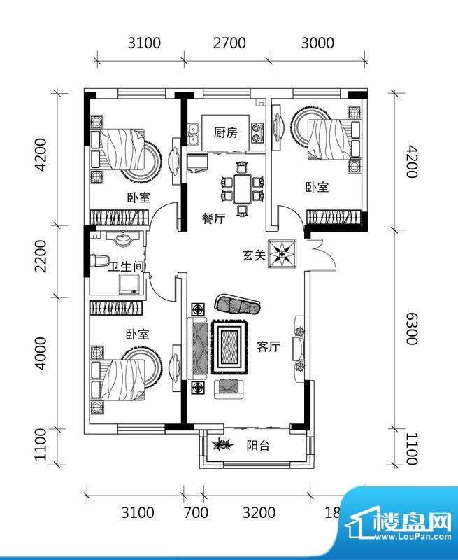 郡望安石C1户型图 3面积:101.91平米