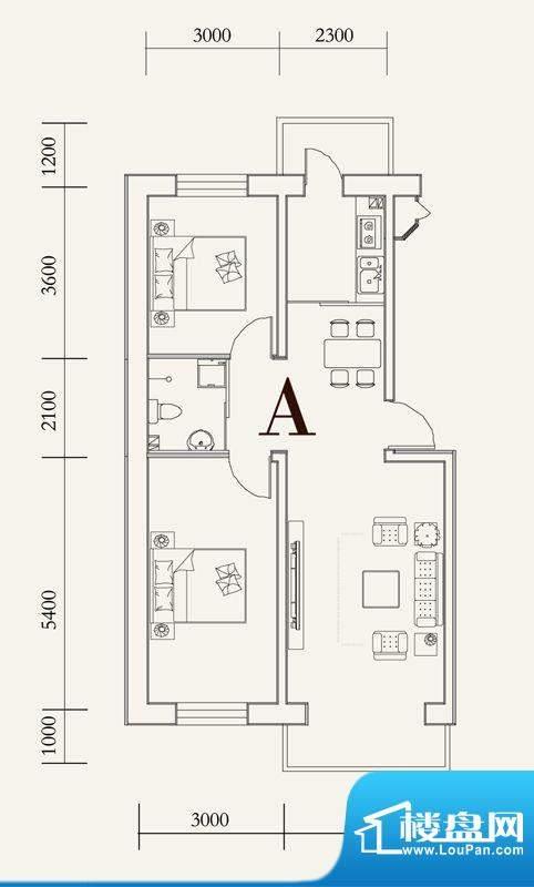 可心居多层A户型图 面积:84.74平米