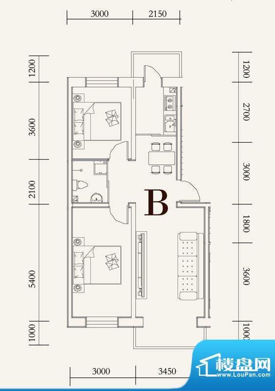 可心居多层B户型图 面积:82.64平米