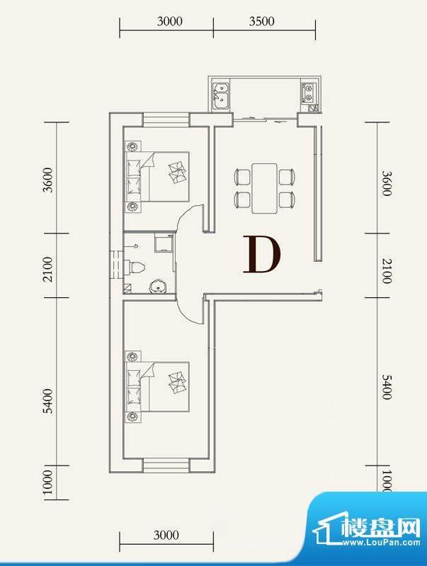 可心居多层D户型图 面积:66.81平米