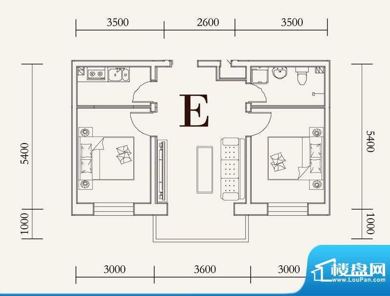 可心居多层E户型图 面积:62.92平米