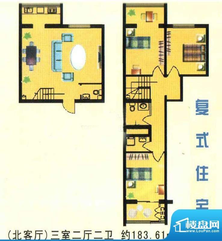 万豪公寓(北)标准面积:183.61m平米