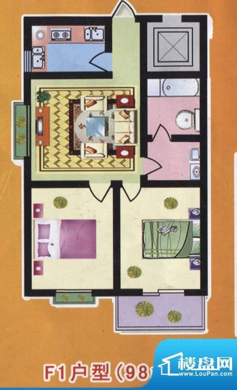 阳光公寓标准层F1户面积:98.00m平米