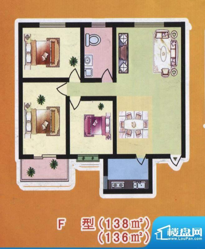 阳光公寓标准层F户型面积:138.00m平米