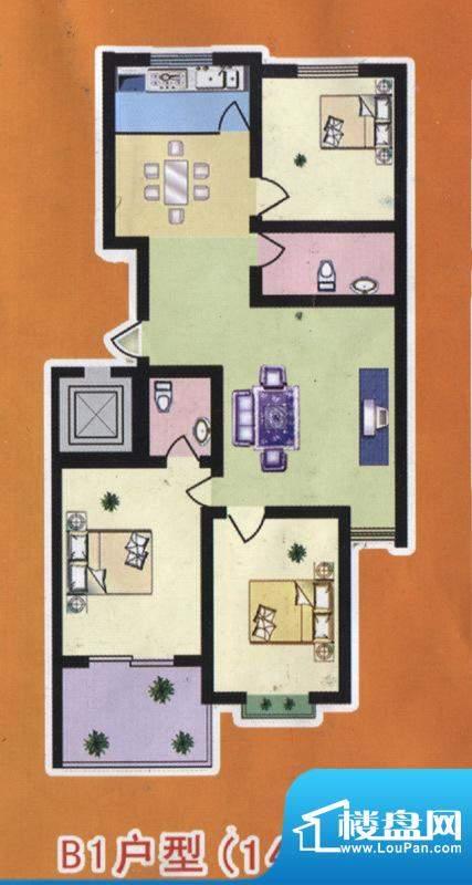 阳光公寓标准层B1户面积:140.00m平米