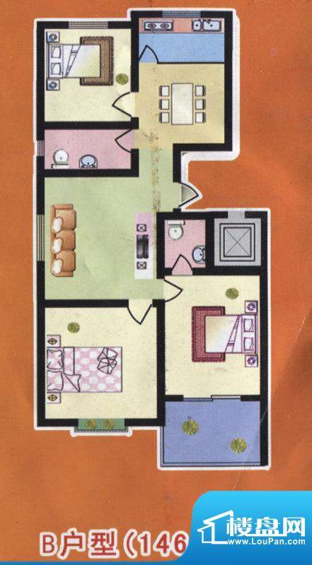 阳光公寓标准层B户型面积:146.00m平米