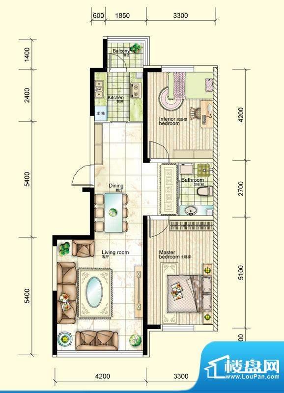 红晟陶然庭苑9号楼B面积:103.86平米