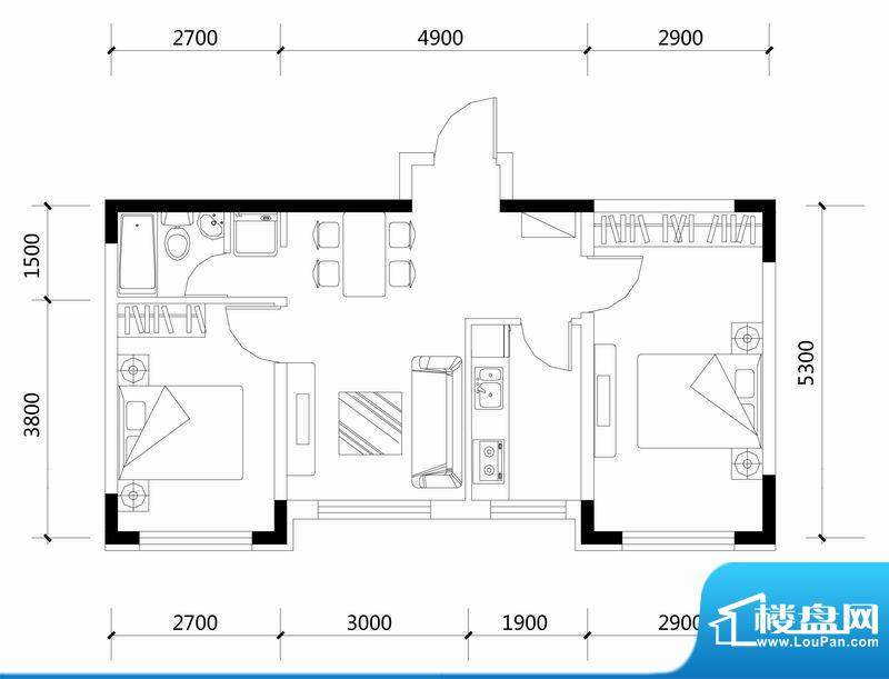 城建世纪佳园B户型图面积:65.12平米