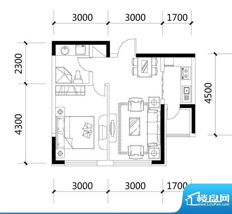 城建世纪佳园B-4户型面积:54.74平米