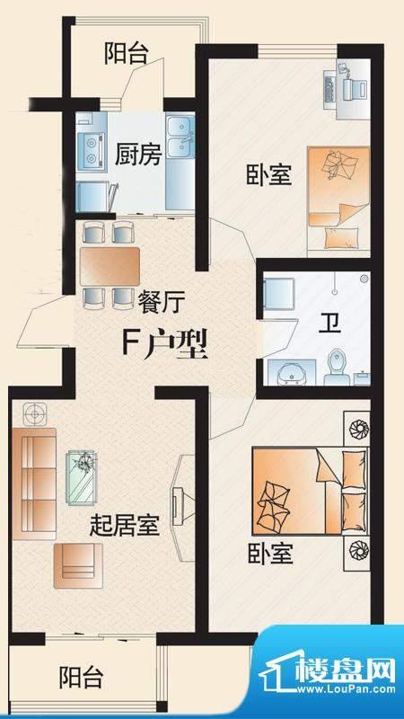东华温馨家园F户型 面积:85.98平米
