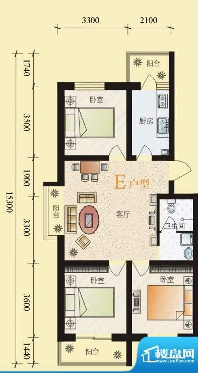 东华温馨家园E户型 面积:98.54平米