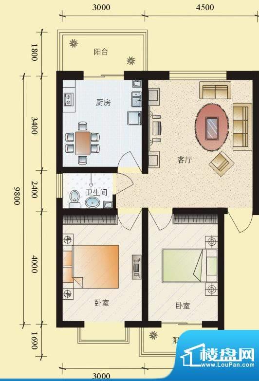 东华温馨家园K户型 面积:78.14平米