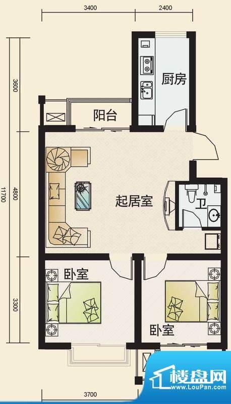 东华温馨家园N1户型面积:84.23平米
