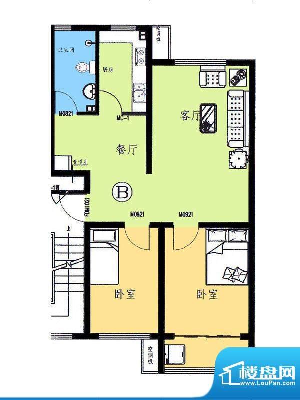 新野四季公寓B户型 面积:78.77平米