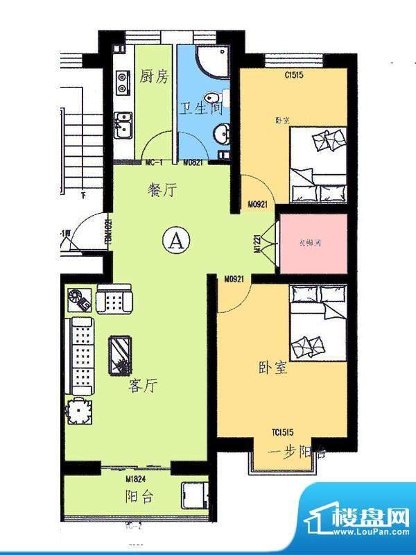 新野四季公寓A户型 面积:88.91平米