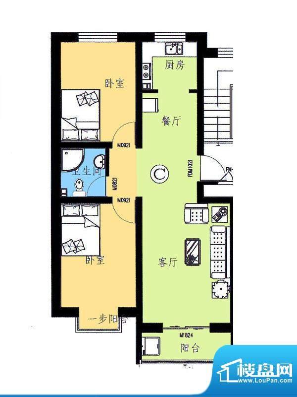 新野四季公寓C户型 面积:80.69平米