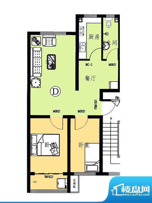 新野四季公寓D户型 面积:72.13平米