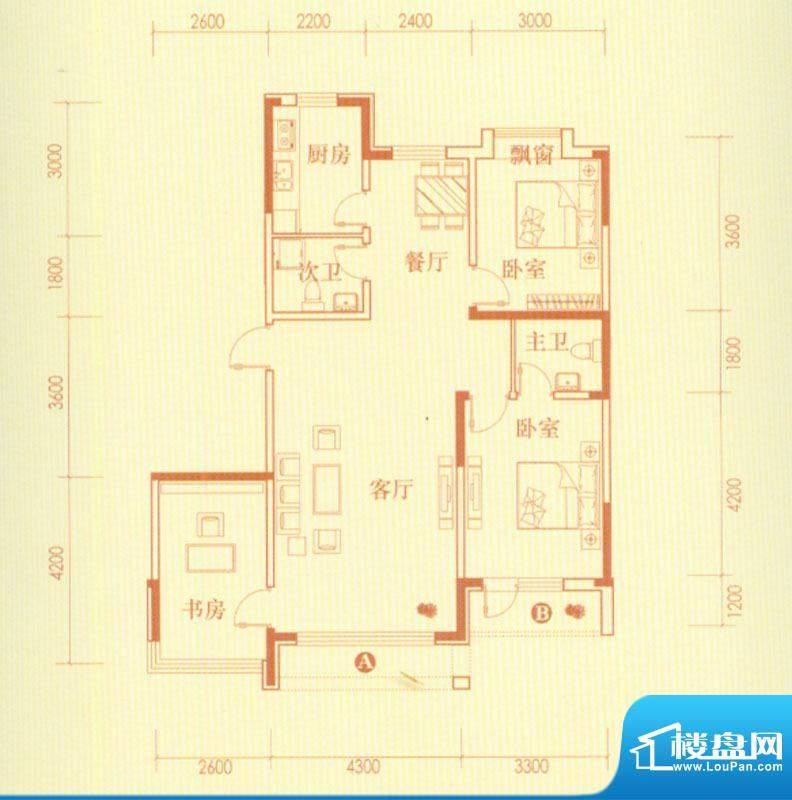香水湾3号楼G户型图面积:107.54平米