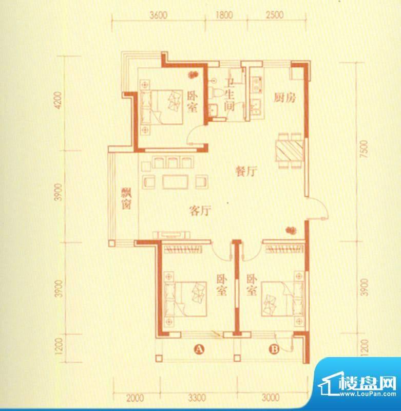 香水湾3号楼E户型图面积:95.20平米