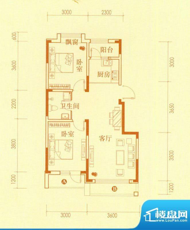 香水湾3、4、5号楼C面积:76.83平米