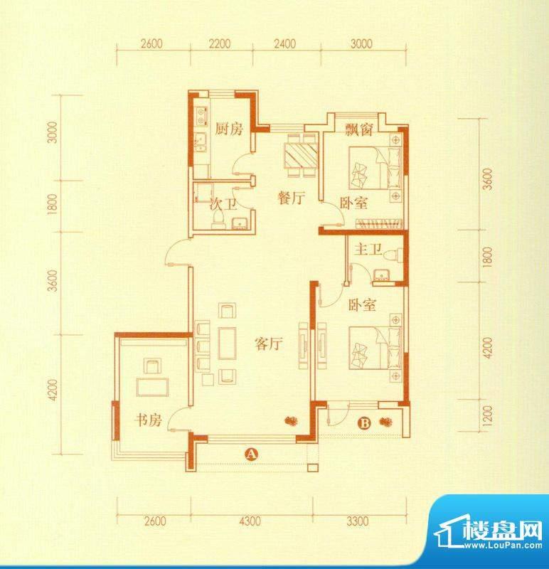 香水湾3号楼B户型图面积:107.54平米