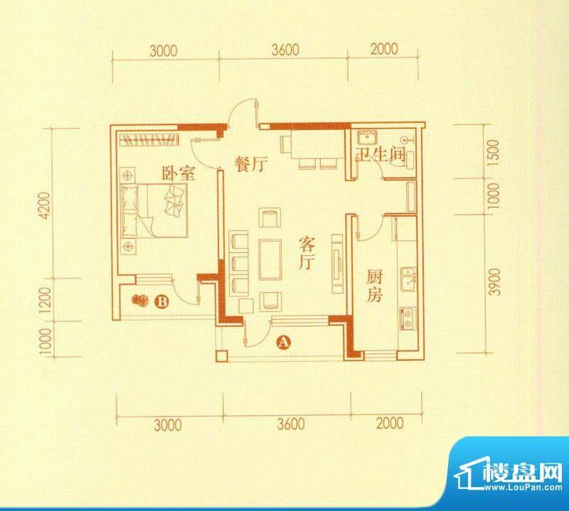 香水湾2号楼A户型图面积:59.27平米