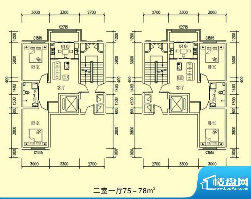 文龙家园F户型图 2室面积:75.00平米