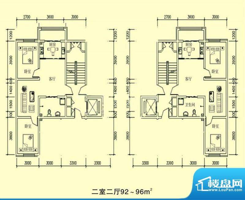 文龙家园G户型图 2室面积:92.00平米