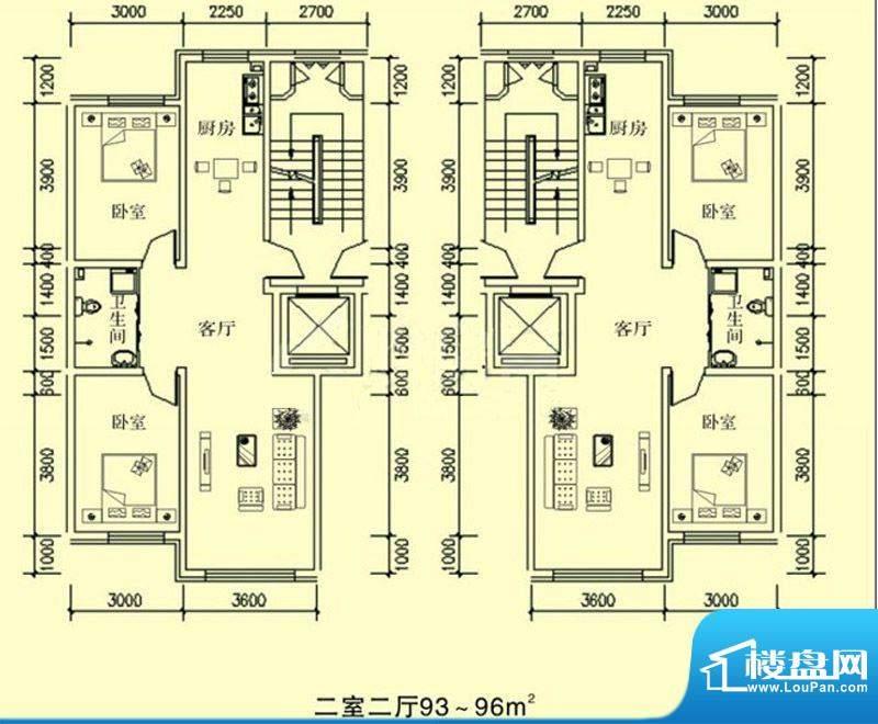 文龙家园H户型图 2室面积:93.00平米