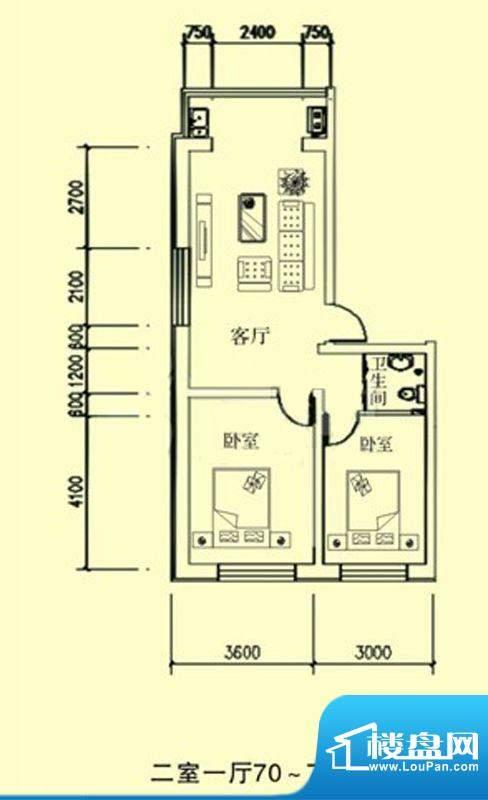 文龙家园I户型图 2室面积:70.00平米