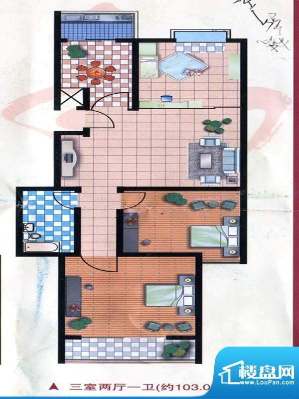 万和公寓标准层B户型面积:103.05m平米
