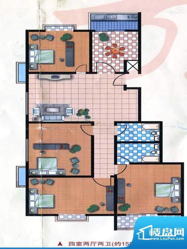 万和公寓标准层A户型面积:158.05m平米