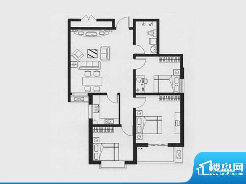 天兆家园1号楼1单元面积:104.96m平米