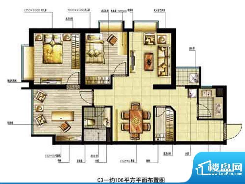 中恒书香门邸标准层面积:106.00m平米
