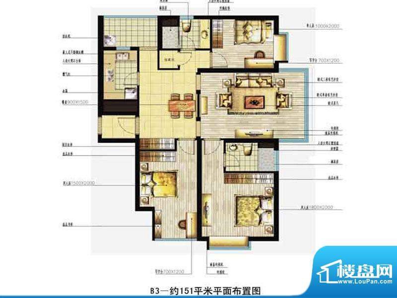 中恒书香门邸标准层面积:151.00m平米