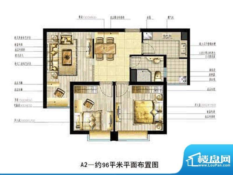 中恒书香门邸标准层面积:96.00m平米