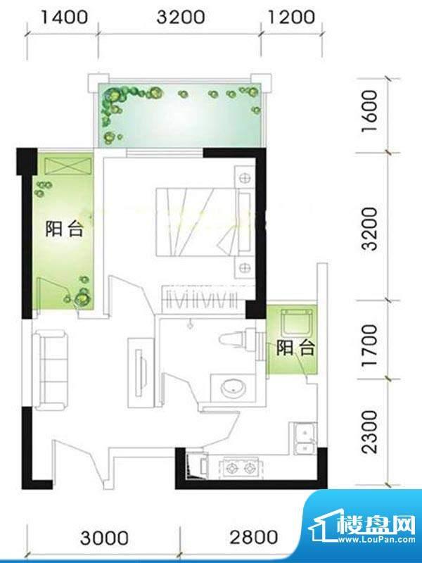 兰庭华府标准层B户型面积:96.00m平米