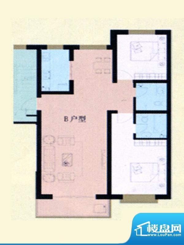 瀚海名居标准层B户型面积:95.00m平米