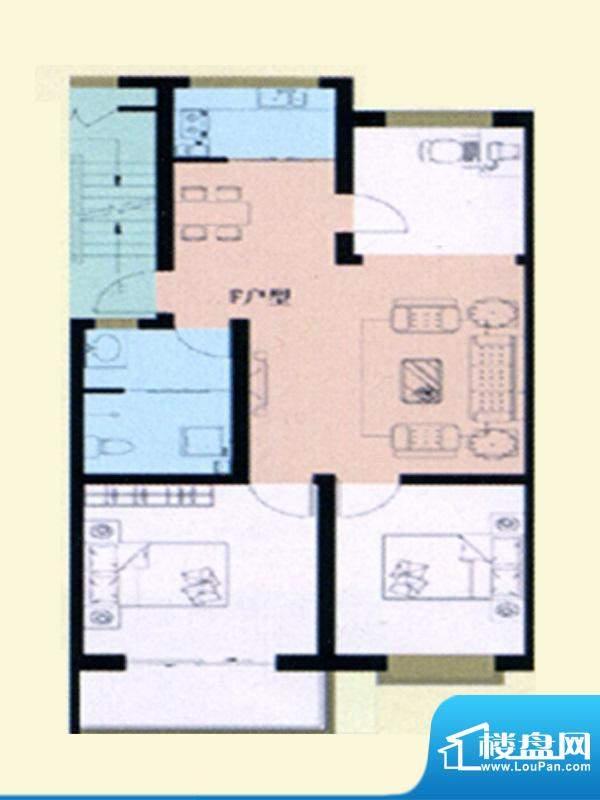 瀚海名居标准层F户型面积:121.00m平米