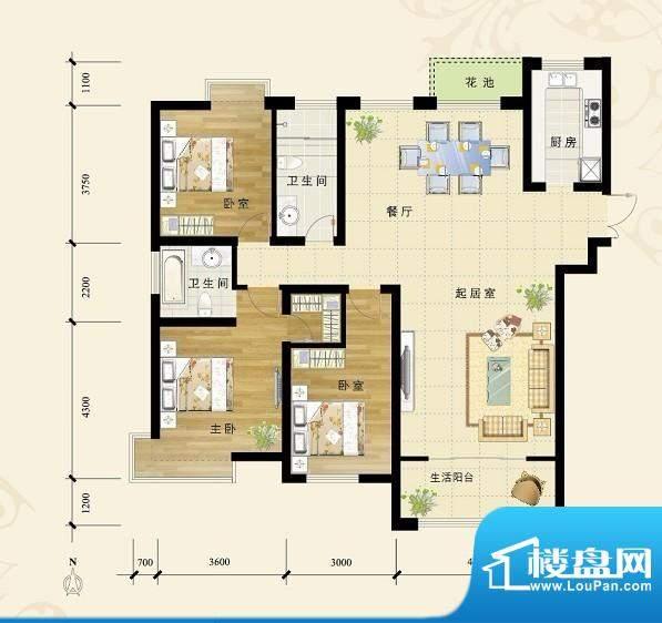 福地隆城观澜户型图面积:153.15平米