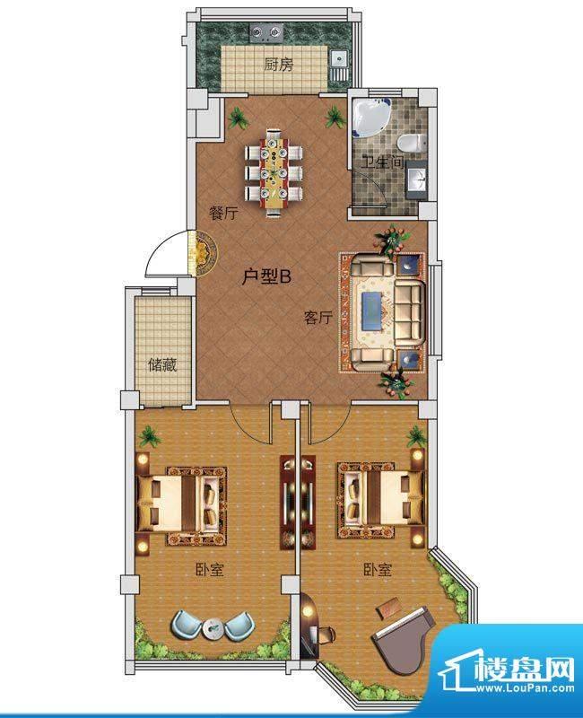 中正公馆B户型图 2室面积:93.73平米