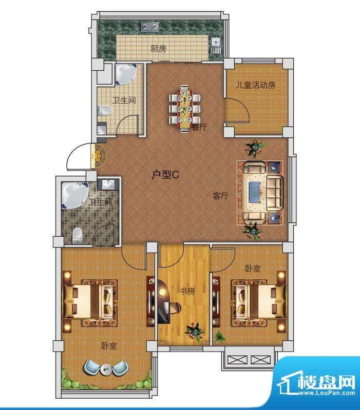 中正公馆C户型图 4室面积:109.65平米