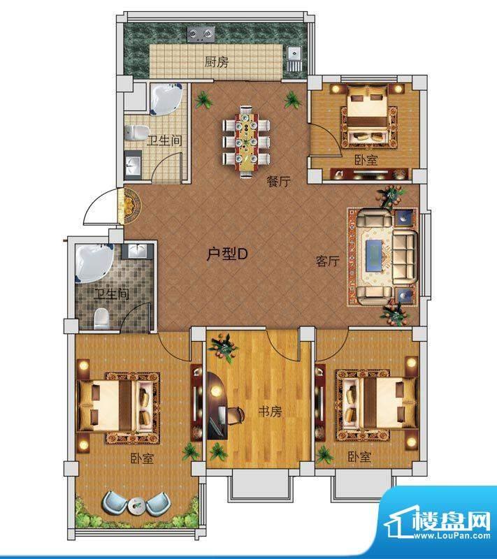 中正公馆D户型图 4室面积:120.78平米