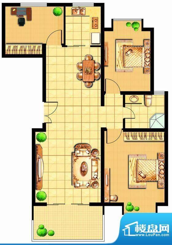 富甲小区H户型 3室2面积:104.29平米