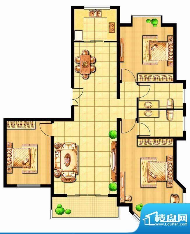 富甲小区G1户型 3室面积:127.36平米