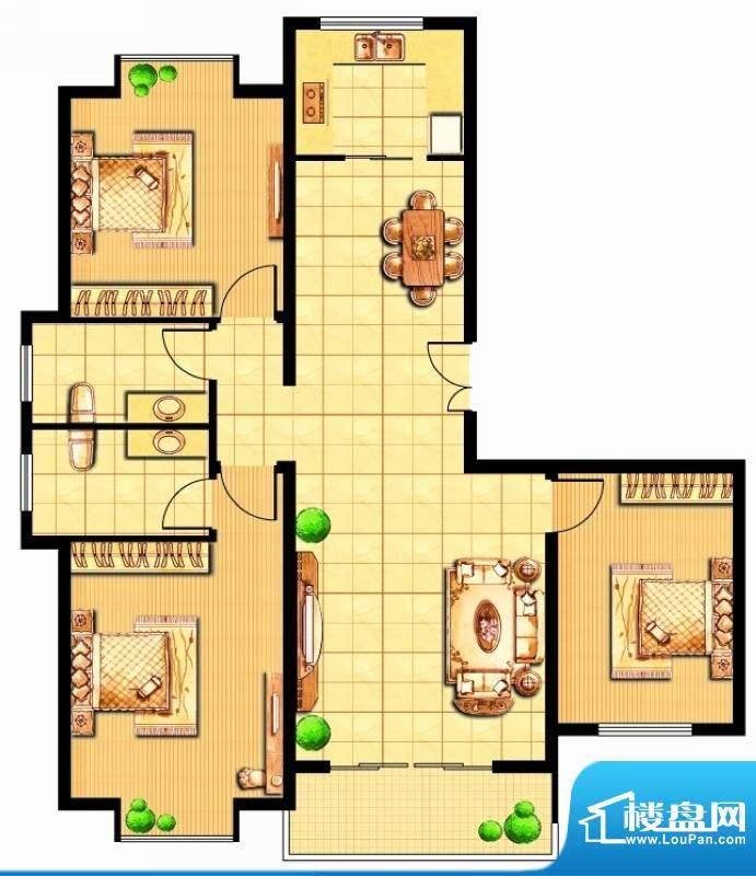 富甲小区G户型 3室2面积:121.30平米