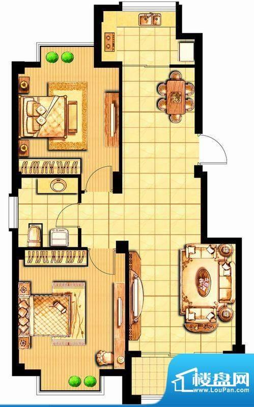 富甲小区D1户型 2室面积:86.11平米