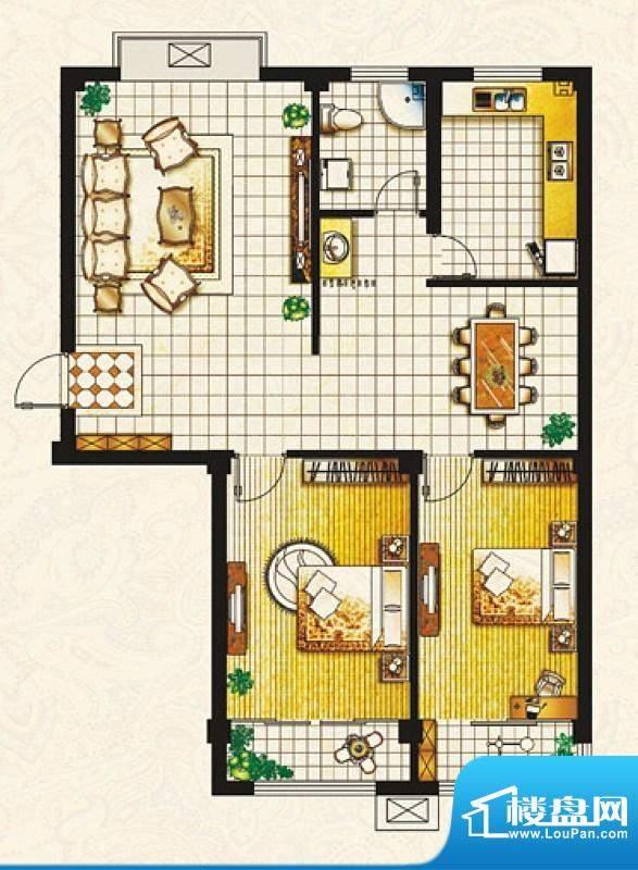 帝豪庄园E户型 2室2面积:101.82平米